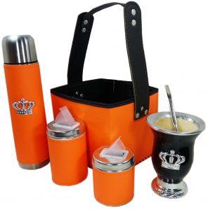 Canasta matera color naranja fluor con mate corona