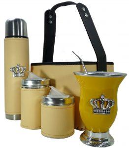 Set matero canasta color natural con mate calabaza y corona