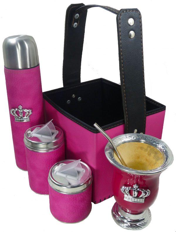 Set matero canasta color fucsia con mate calabaza y corona