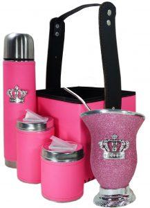 Set matero canasta color rosa flúor con mate calabaza y corona