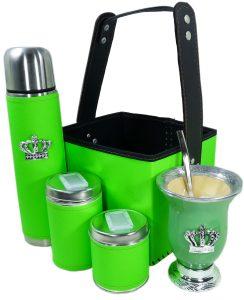 Set matero canasta color verde fluor con mate calabaza y corona