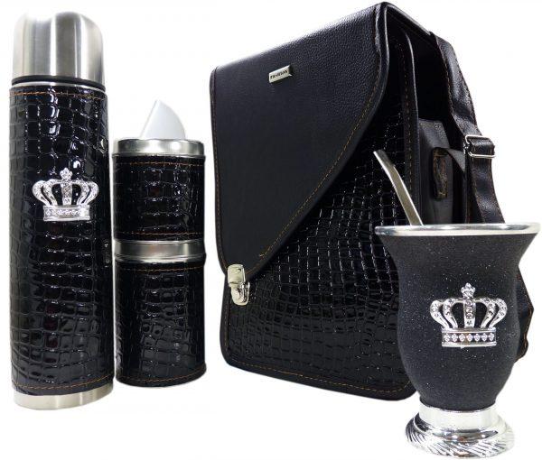 Set matero croco negro con mate calabaza y corona colección CATA
