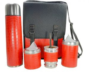 Set matero camping sencillo croco rojo con mate algarrobo por mayor