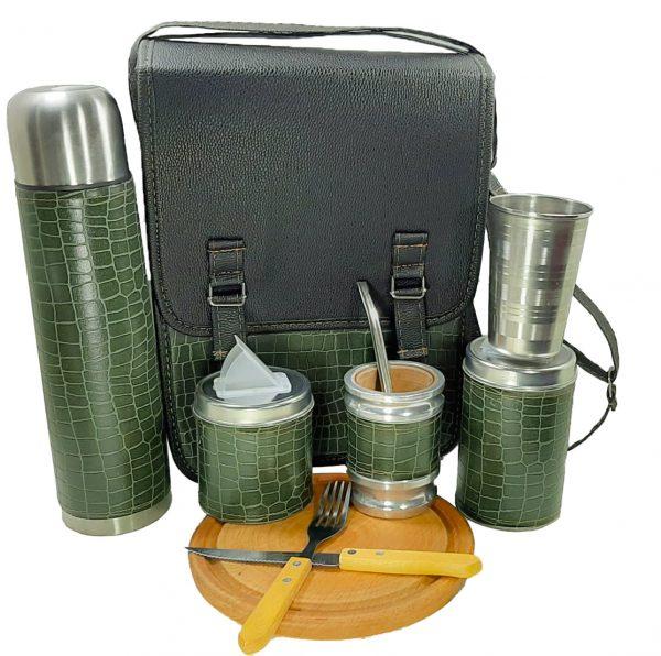 Set camping color croco verde con tabla cubiertos y vaso ventas mayoristas