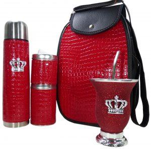 Set matero croco rojo con mate calabaza y corona colección FAR