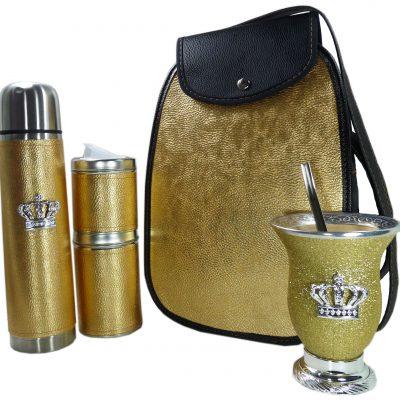 Set matero dorado con mate calabaza y corona colección FAR