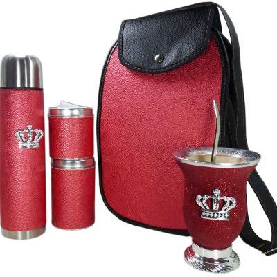 Set matero rojo brillante con mate calabaza y corona colección FAR