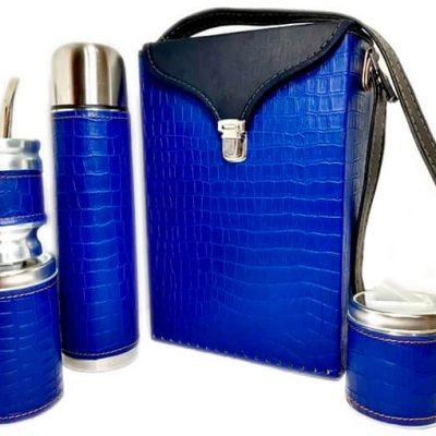 Set matero color croco Azul colección FLOR