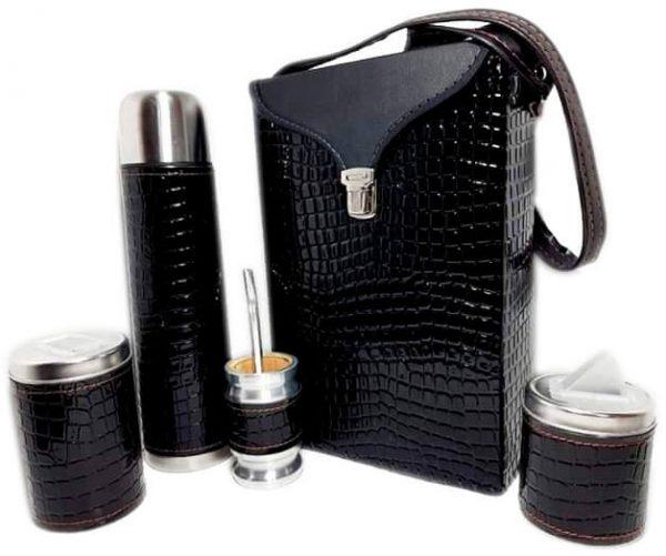 Set matero color croco Negro colección FLOR