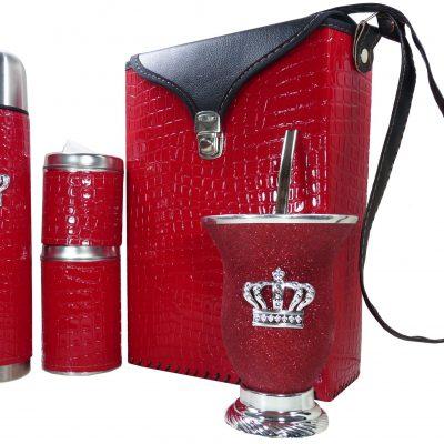 Set matero croco rojo y mate de calabaza con corona colección FLOR