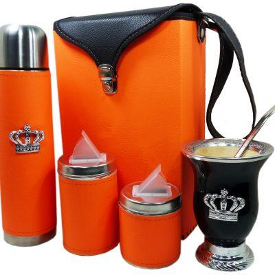 Set matero color naranja y mate de calabaza con corona colección FLOR
