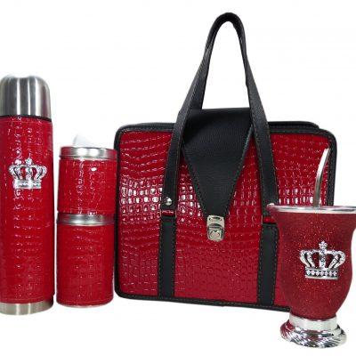 Set matero color croco Rojo y mate calabaza con corona colección JACK