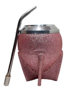 Mate de calabaza uruguayo rosado glitter