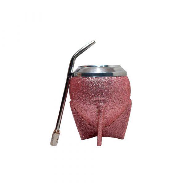 Mate uruguayo torpedo rosa brillante con bombilla