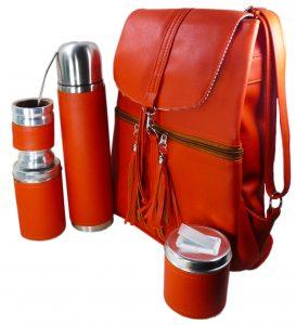 Set matero mochila color naranja Aylen