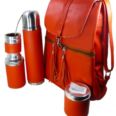 Set matero mochila color naranja Aylen