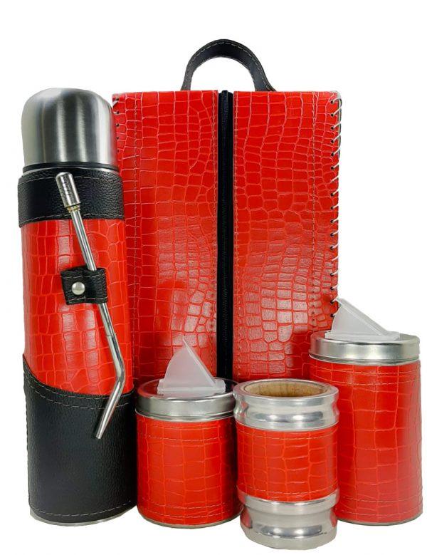 Set matero premium croco rojo colección MELU