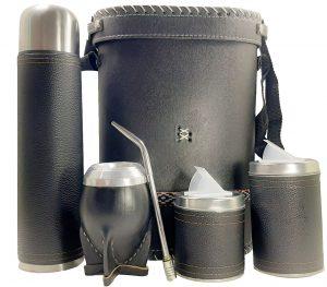 Set matero rígido para hombre color negro forrado con eco-cuero