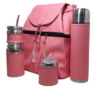Set matero con mochila de eco-cuero rosado claro