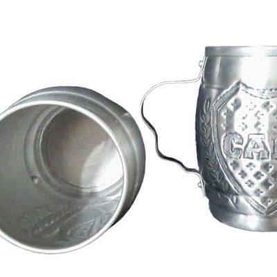 Chopera de aluminio cincelada a mano con figura del club boca junior
