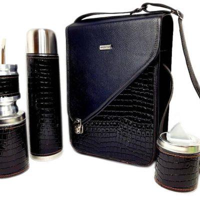 Set matero croco negro colección CATA