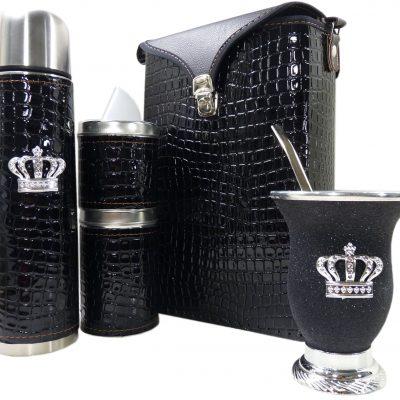 Set matero croco negro y mate de calabaza con corona colección FLOR