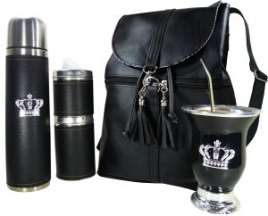 Set matero con mochila Aylen negro y mate calabaza con corona