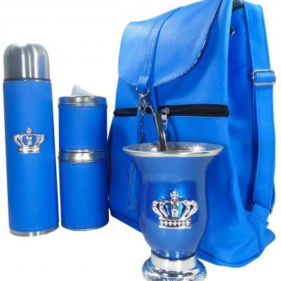Set matero con mochila aylen azul y mate calabaza con corona