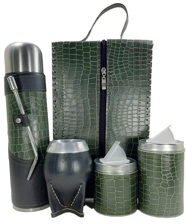 Set matero premium croco verde con mate torpedo colección MELU