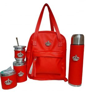 Set matero color rojo con coronas colección Luli