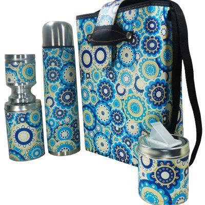 Set de mate economico con diseño de Mandalas Azules