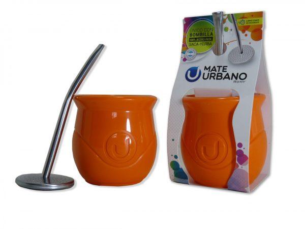 Mate urbano naranja con bombilla