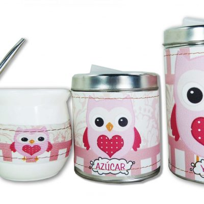 Set de 3 piezas diseño de Buho rosa