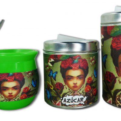 Set de 3 piezas diseño Frida verde