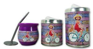 Set de 3 piezas diseño de Bici con perrito