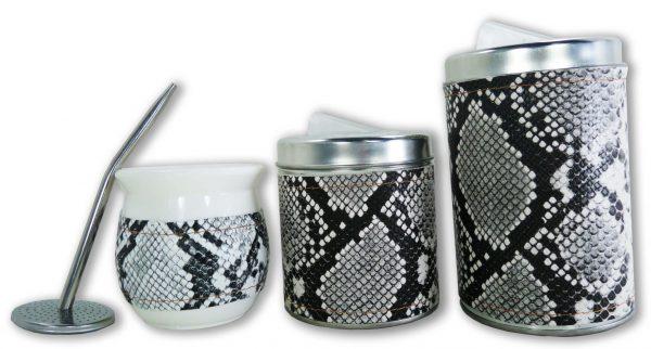 Set de 3 piezas eco cuero diseño Boa blanco