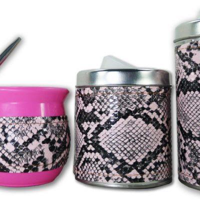 Set de 3 piezas diseño de Boa rosa