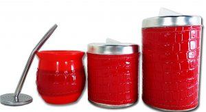 Set de 3 piezas eco cuero croco rojo