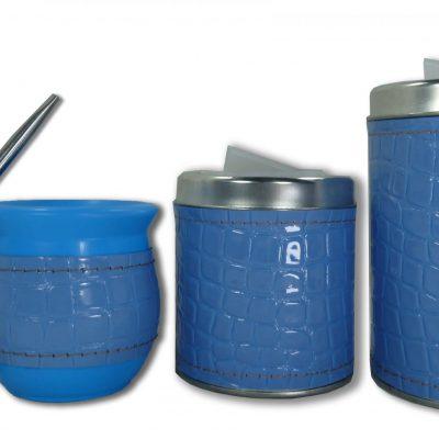 Set de 3 piezas eco cuero croco azul