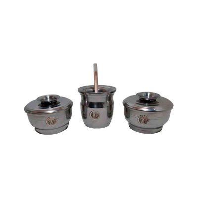 Set de mate x 3 aluminio con aplique de herraduras