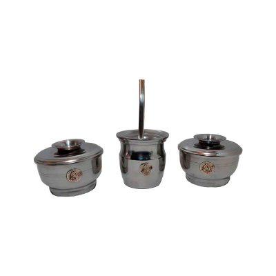 Set de mate x 3 aluminio con aplique de campana
