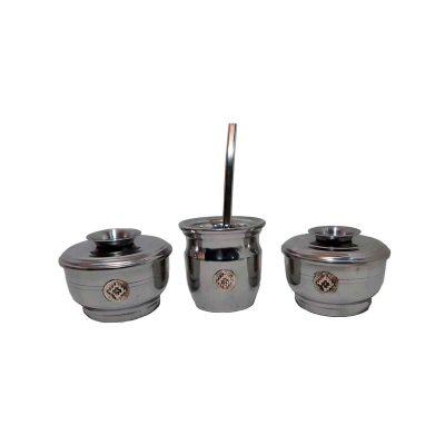 Set de mate x 3 aluminio con aplique de cruz