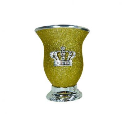 Mate corona amarillo glitter