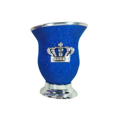 Mate corona azul glitter