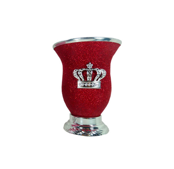 Mate corona rojo glitter