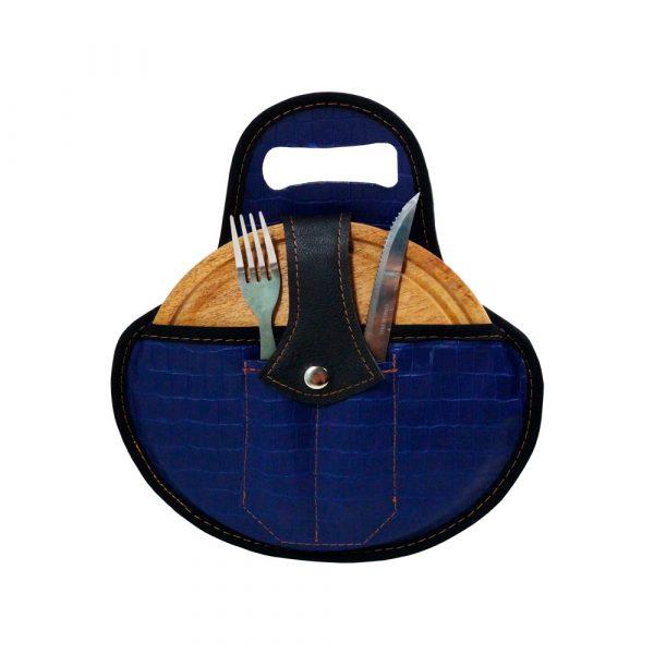 Set de asado croco azul