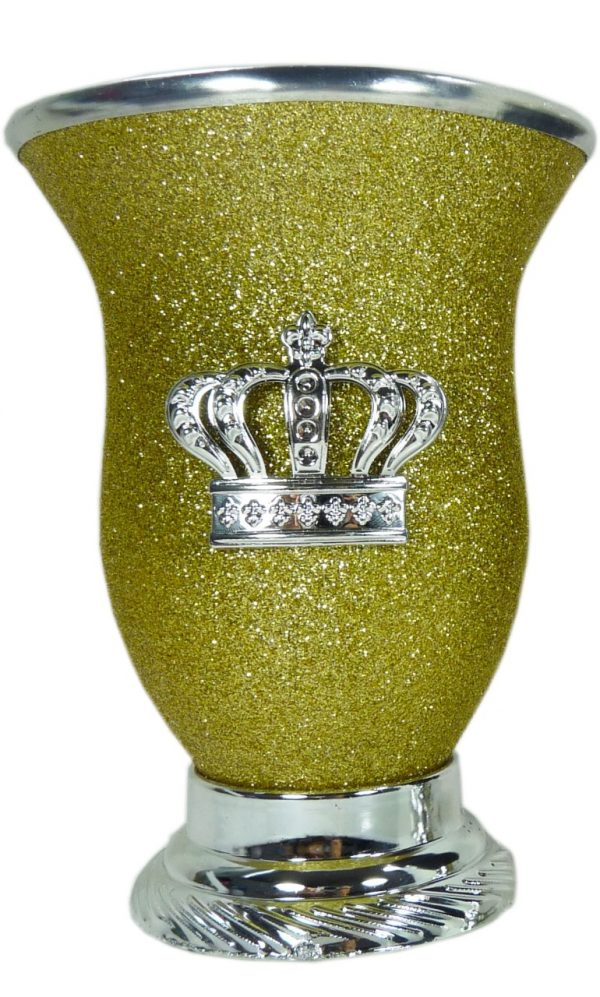 Mate calabaza color amarillo glitter con corona por mayor