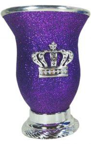 Mate calabaza color violeta glitter por mayor