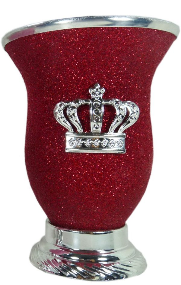 Mate calabaza color rojo glitter con corona por mayor