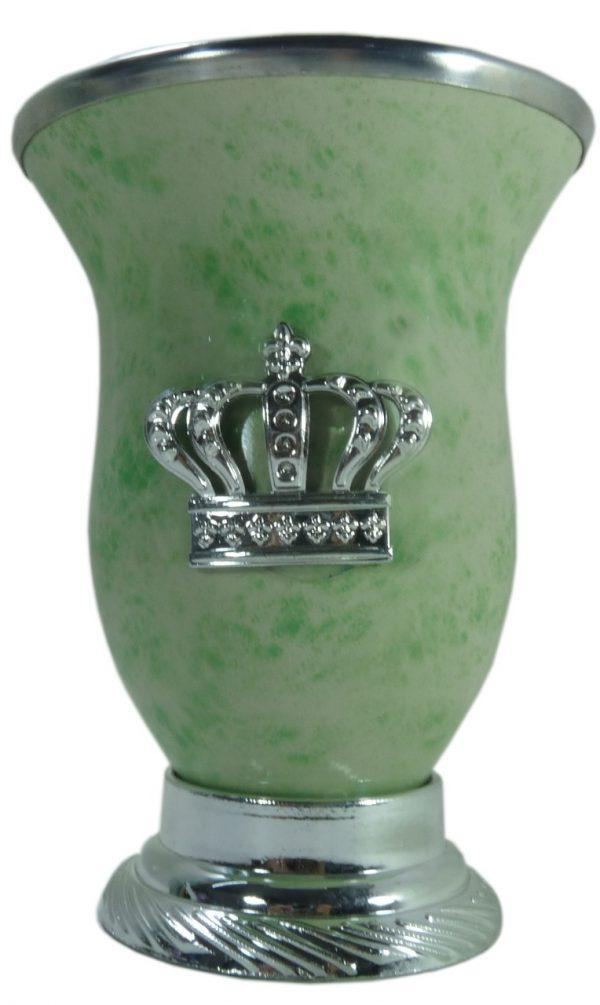 Mate calabaza color verde camuflajeado con corona por mayor